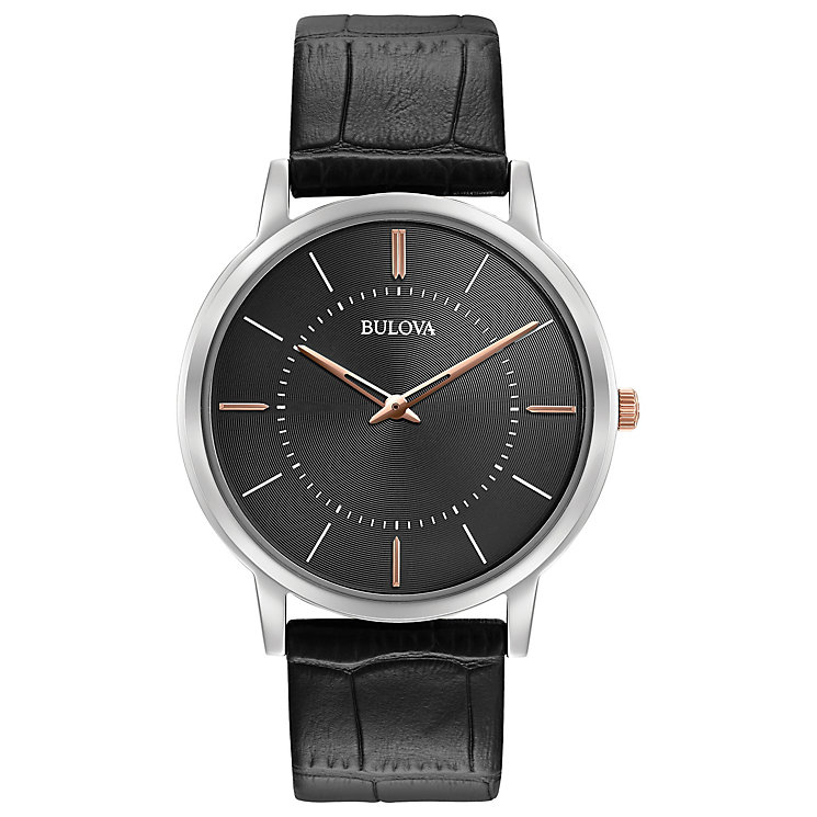 Bulova Men's Grey Dial Ultra Slim Black Leather Strap Watch - Product number 5293332