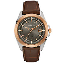 Bulova Precisionist Men's Brown Leather Strap Watch - Product number 5293359