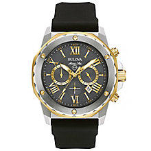 Bulova Marine Star Men's Grey Dial Black Rubber Strap Watch - Product number 5293383