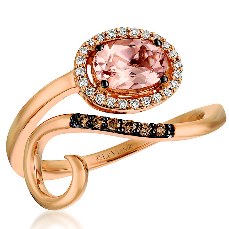 Le Vian 14ct Strawberry Gold Peach Morganite & Diamond Ring - Product number 5293553