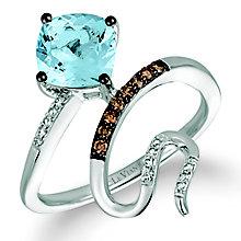 Le Vian 14ct Vanilla Gold Aquamarine & Diamond Ring - Product number 5293561