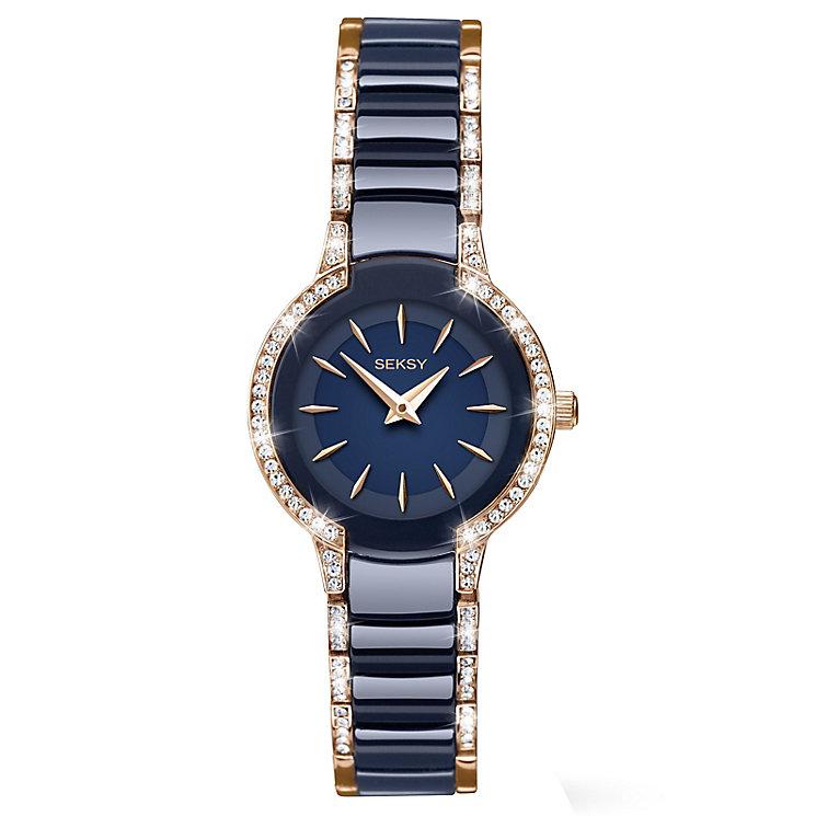 Seksy Ladies' Swarovski Blue Ceramic Bracelet Watch - Product number 5293618
