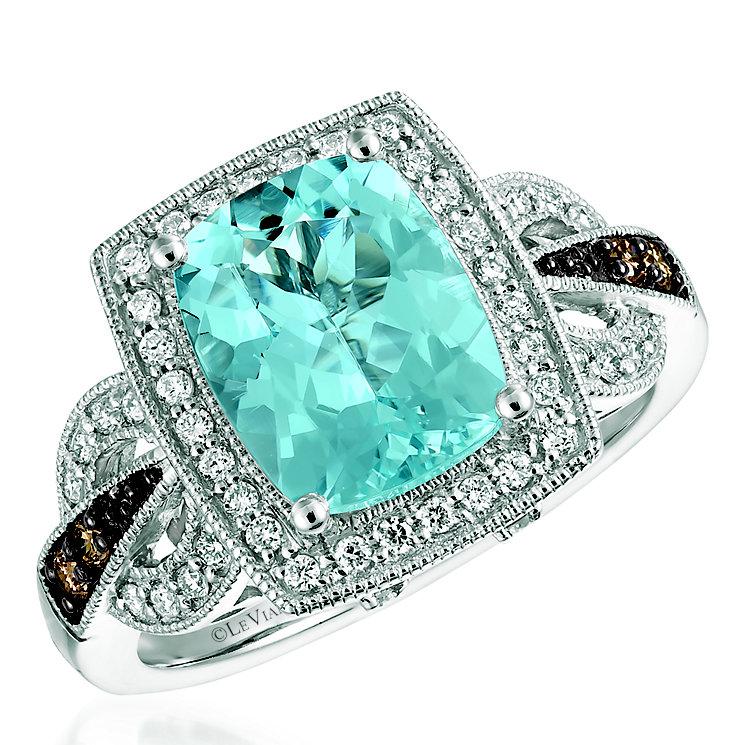 Le Vian 14ct Vanilla Gold Aquamarine & Diamond Ring - Product number 5293626