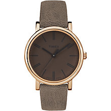 Timex Men's Gold-Plated Brown Leather Strap Watch - Product number 5295181