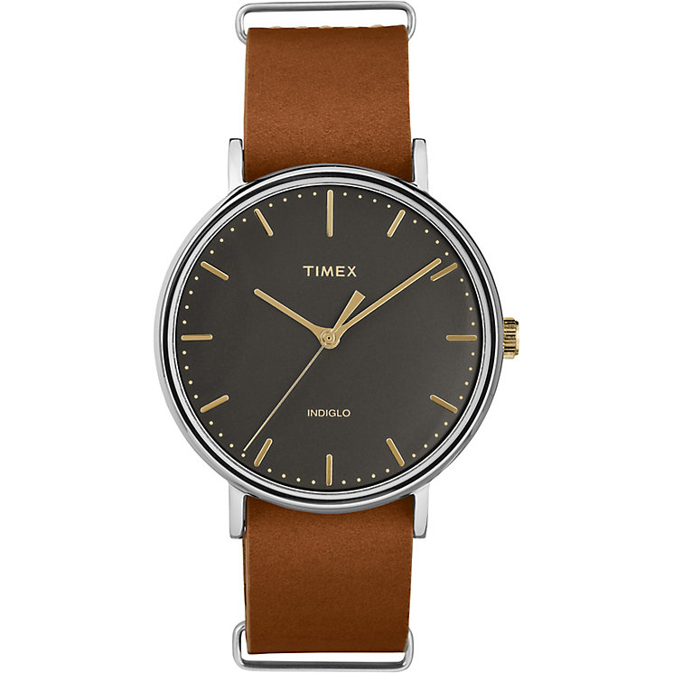 Timex Weekender Fairfield Men's Tan Leather Strap Watch - Product number 5295254
