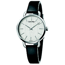 Calvin Klein Even Ladies' Black Leather Strap Watch - Product number 5295874