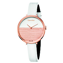 Calvin Klein Rise Ladies' White Leather Strap Watch - Product number 5296137