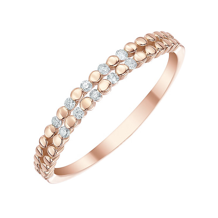 9ct Rose Gold Diamond Double Row Eternity Ring - Product number 5299039