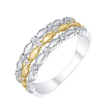 Sterling Silver & 9ct Gold 0.10 Carat Diamond Eternity Ring - Product number 5299179