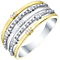 Sterling Silver & 9ct Gold Diamond 5 Row Eternity Ring - Product number 5299446