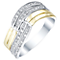 Sterling Silver & 9ct Gold Diamond Wave Eternity Ring - Product number 5299578