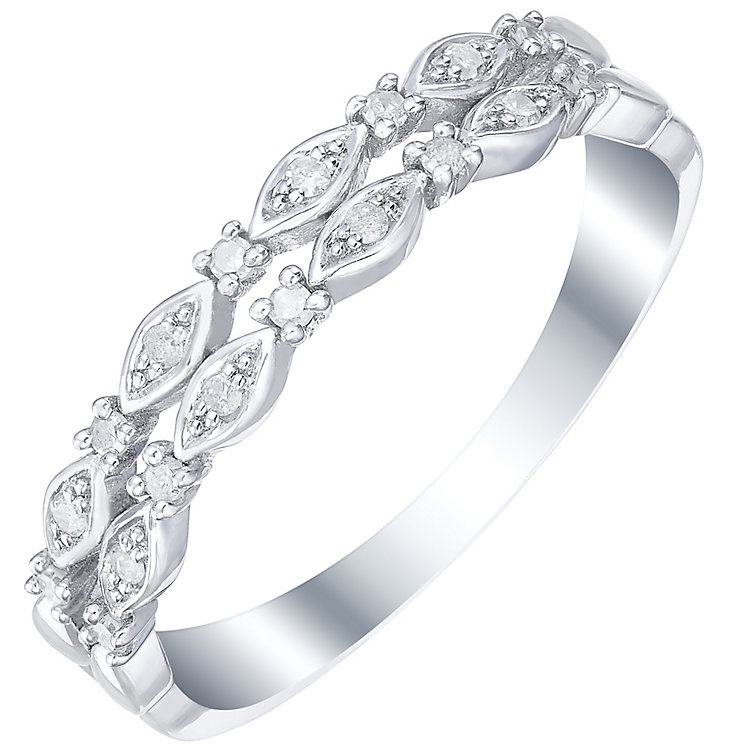 Sterling Silver & 0.10ct Double Row Diamond Ring - Product number 5300517