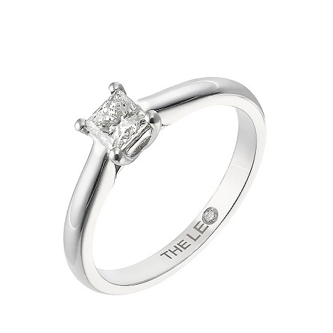 Platinum half carat princess cut Leo Diamond solitaire ring