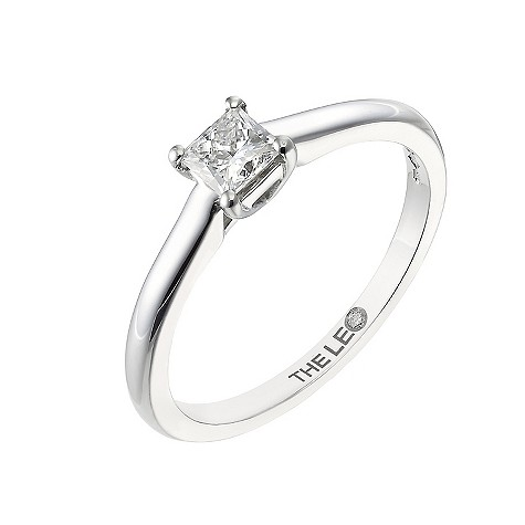 Platinum third carat princess cut Leo Diamond solitaire ring