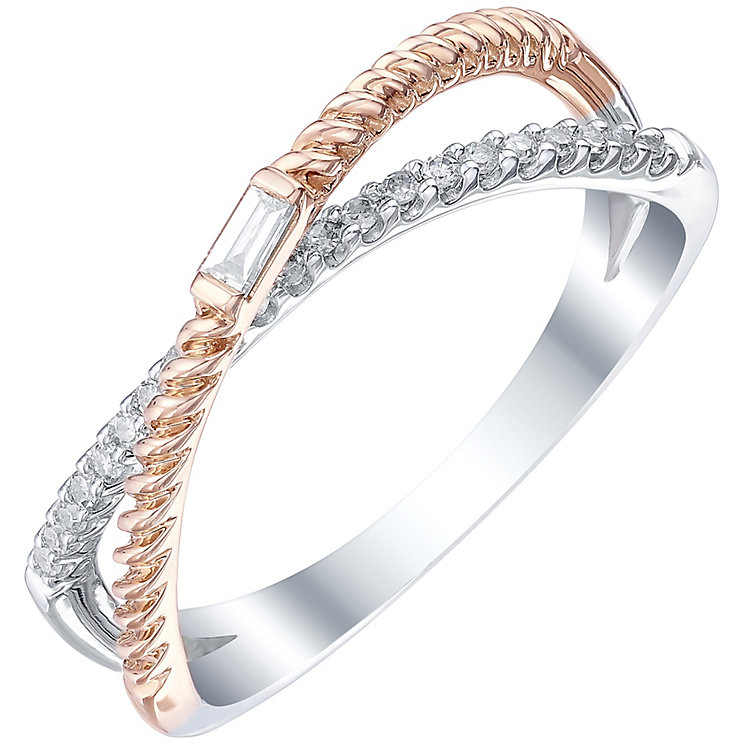9ct White & Rose Gold 0.12 Carat Diamond Ring - Product number 5302242