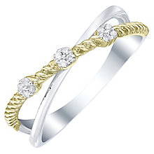 9ct White & Yellow Gold 0.06ct Diamond Ring - Product number 5302374