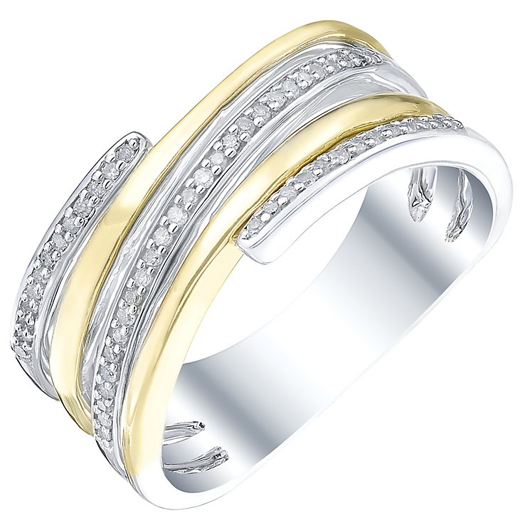 Sterling Silver & 9ct Gold 0.12 Carat Diamond Eternity Ring - Product number 5303656