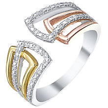 9ct White, Yellow & Rose Gold 0.08ct Diamond Eternity Ring - Product number 5304172