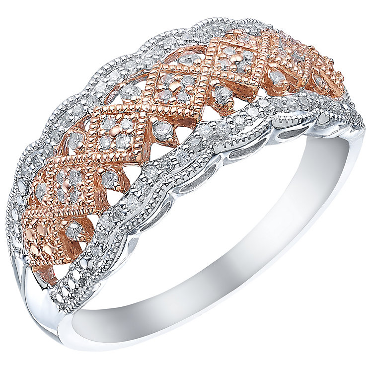 Silver & 9ct Rose Gold 0.15ct Diamond Eternity Ring - Product number 5304318
