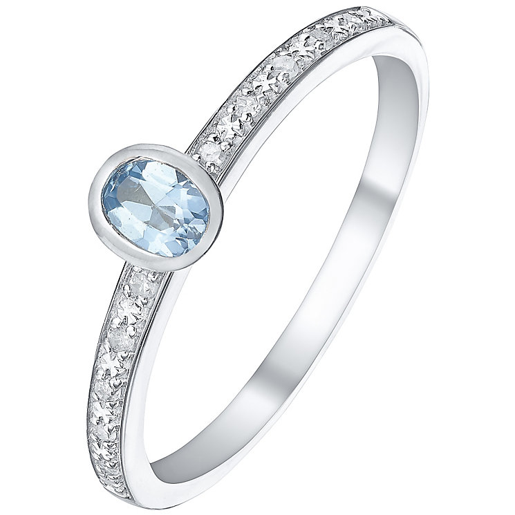 Sterling Silver Blue Topaz & Diamond Ring - Product number 5304865
