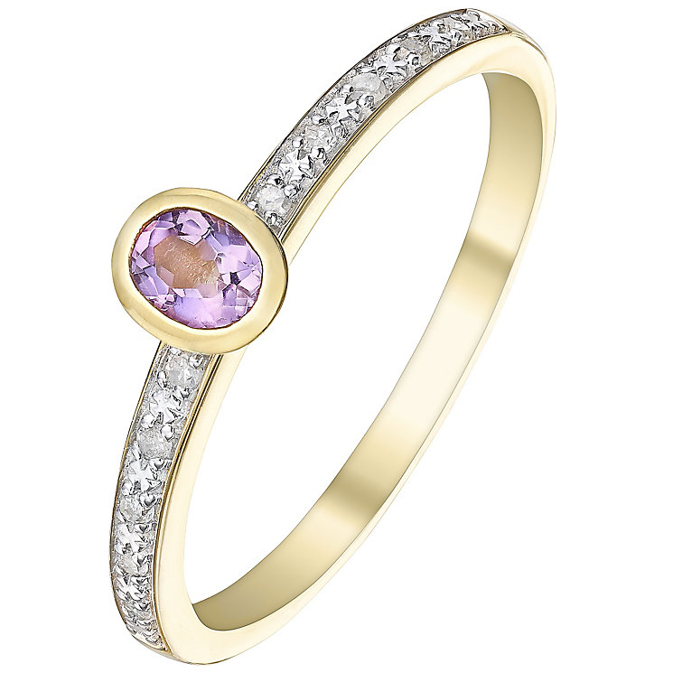 9ct Gold Amethyst & Diamond Ring - Product number 5305004