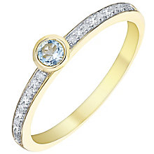 9ct Gold Blue Topaz & Diamond Ring - Product number 5305160