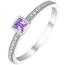 Sterling Silver Amethyst & Diamond Ring - Product number 5305306
