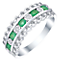 Sterling Silver Emerald & Diamond Eternity Ring - Product number 5305616