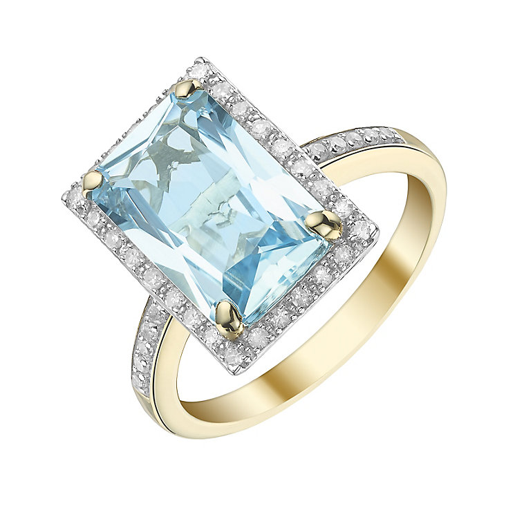 9ct Yellow Gold Blue Topaz and 0.20ct Diamond Set Ring - Product number 5305977