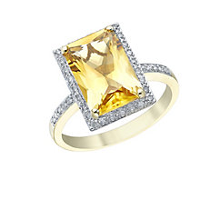 9ct Gold Citrine & 1/5ct Diamond Ring - Product number 5306116