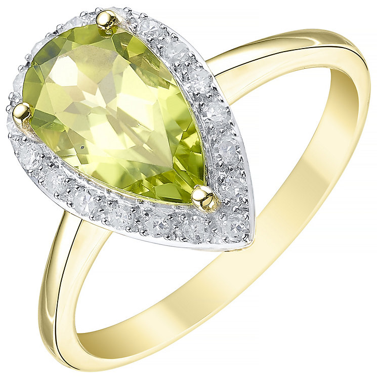 9ct Yellow Gold Pear Cut Peridot and 0.13ct Diamond Set Ring - Product number 5306361