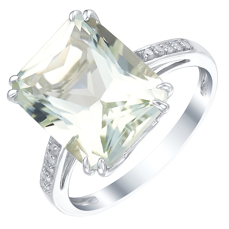 9ct White Gold Green Quartz & Diamond Ring - Product number 5306639