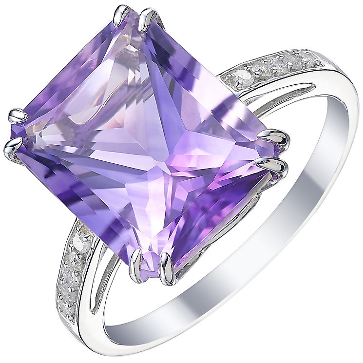 9ct White Gold Amethyst and 0.07ct Diamond Set Ring - Product number 5306930