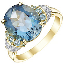 9ct Yellow Gold Blue Topaz and 0.09ct Diamond Set Ring - Product number 5307074