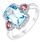 9ct White Gold Blue Topaz, Tourmaline & Diamond Ring - Product number 5307333