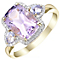 9ct Yellow Gold Amethyst and 0.12ct Diamond Set Ring - Product number 5307465