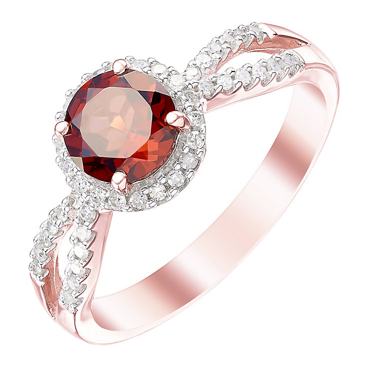 9ct Rose Gold Garnet and 0.17 Diamond Set Ring - Product number 5307635