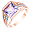 9ct Rose Gold Amethyst & Diamond Ring - Product number 5307775
