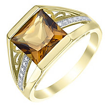 9ct Gold Citrine & Diamond Ring - Product number 5308062