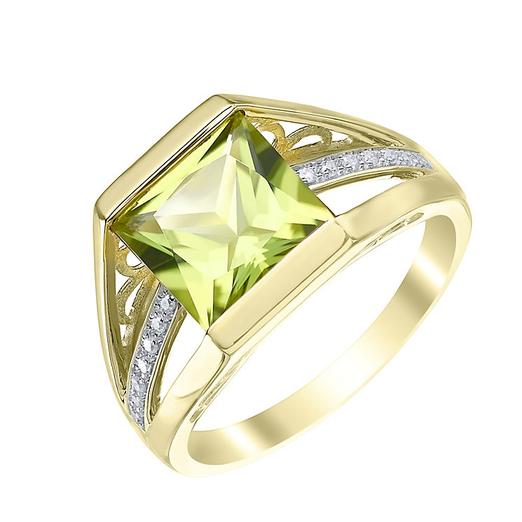 9ct Gold Peridot & Diamond Ring - Product number 5308194