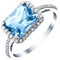 Sterling Silver Blue Topaz & 1/5 Carat Diamond Ring - Product number 5308313