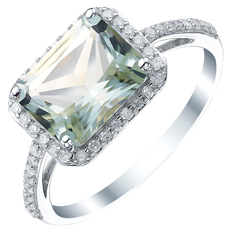 Sterling Silver Green Quartz & 1/5 Carat Diamond Ring - Product number 5308445
