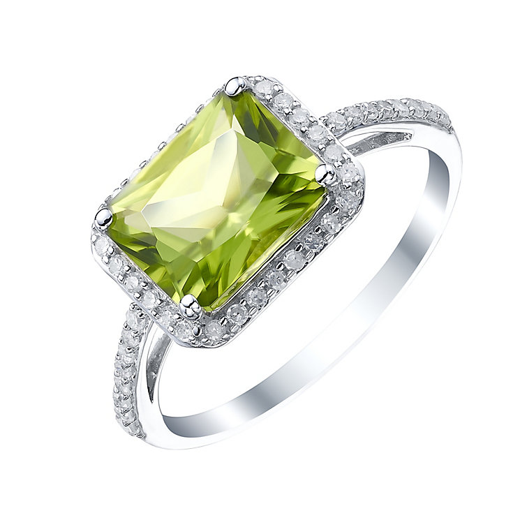 Sterling Silver Peridot & 1/5 Carat Diamond Ring - Product number 5308593