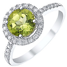 Silver Peridot and 0.12 Diamond Set Ring - Product number 5309026