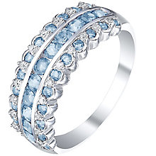 Sterling Silver Blue Topaz & Diamond Eternity Ring - Product number 5309158