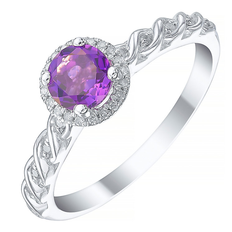 Sterling Silver Amethyst & Diamond Ring - Product number 5309417