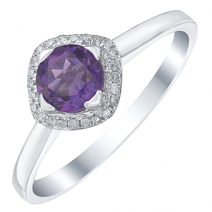 Sterling Silver Amethyst & Diamond Ring - Product number 5309549