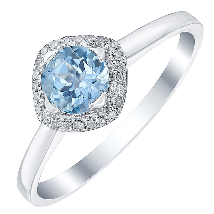 Sterling Silver Blue Topaz & Diamond Ring - Product number 5309689