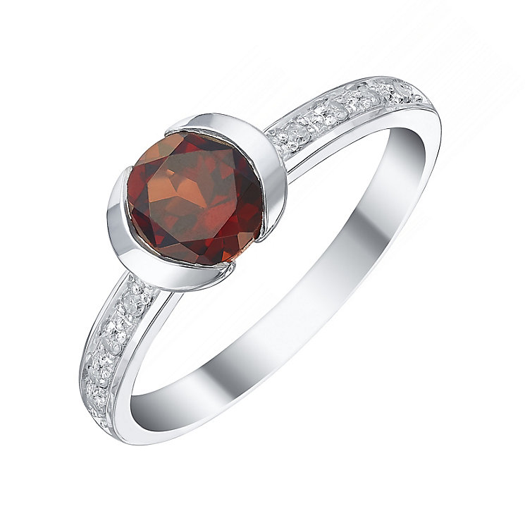 Sterling Silver Garnet & Diamond Ring - Product number 5309816