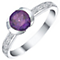 Sterling Silver Amethyst & Diamond Ring - Product number 5309948